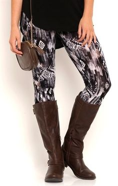Deb Shops This pair of leggings features a blurred tribal print. $11.20