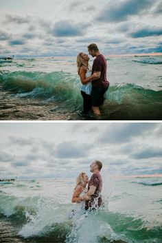 This couple has the most stunning beach engagement photos, and their love story is just like a fairytale!