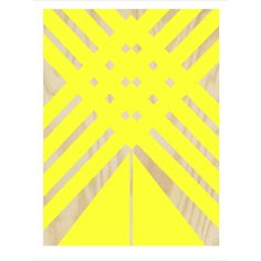 Alfred & Wilde Yellow Plywood Print: A contemporary graphic Giclée print with a bold and colourful plywood design, printed in East London.   - Signed and dated by the artist - Printed on high quality white paper