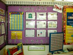 Here's a terrific set of math wall cards with fill-ins for use during calendar time.