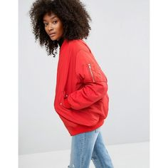 ASOS Oversized Bomber Jacket (€71) ❤ liked on Polyvore featuring outerwear, jackets, red, asos jackets, bomber style jacket, blouson jacket, oversized bomber jackets and zipper jacket