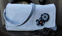 Denim Clutch Handbag Accented with Denim Flowers, Removable Shoulder Strap, Zipper Pocket and Lined with Mutli-Colored Floral - by AllintheJeans on Etsy