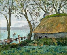A cottage with thatched roof in Douarnenez - Maxime Maufra, 1898  Maxime Maufra (May 17, 1861 in Nantes – May 23, 1918), was a French landscape and marine painter, etcher and lithographer.