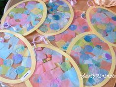 Tissue Paper Collage Easter Eggs, Easter Crafts For Kids