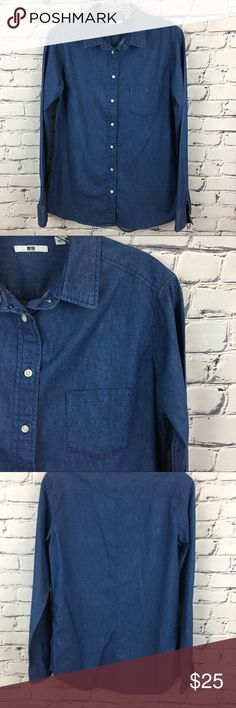 Chambray Denim Look Button Down Shirt Soft Chambray Denim Long Sleeve Button Down Shirt - thus shirt is perfect with a pair of white skinny jeans and a pop of color shoe! Uni Qlo Tops Button Down Shirts