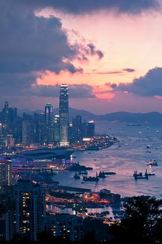 Hong Kong looking across Victoria Harbour and Causeway Bay on Hong Kong Island…