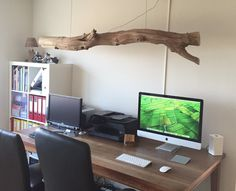 Led desk lamp with 4 dimmable and rotating spotlights, made into weathered old Oak branch.