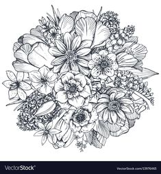 Spring Flowers Coloring Pictures Fresh Floral Position Bouquet with Hand Drawn Spring Flowers Flower Coloring Pages, Colouring Pages, Coloring Books, Adult Coloring, Colorful Flowers, Spring Flowers, Fresh Flowers, Beautiful Flowers, Tattoo Henna