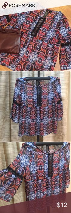 ‼️Sale Today‼️Petticoat Alley sheer blouse Adorable pheasant style sheer blouse with wide sleeves and lace accents. Anthropologie Tops Blouses