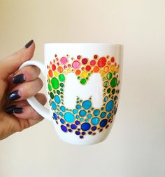 ceramic cafe Ceramic rainbow coffee mug Painted unique coffee mug Personalized coffee mug Funny Mom coffee mug Rainbow bubbles pattern coffee mug This is the white porcelain hand painted Initial Coffee Mugs, Painted Coffee Mugs, Hand Painted Mugs, Painted Cups, Painted Pottery, Hand Painted Ceramics, Ceramic Cafe, Pottery Painting Designs, Pottery Painting Ideas Easy