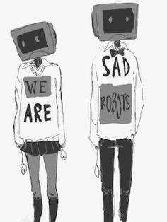 "We Are Sad Robots shared by Hibiki ""ハルヒ"" on We Heart It Anime Chibi, Kawaii Anime, Manga Anime, Anime Art, Kawaii Hair, Manga Girl, Art Sketches, Art Drawings, Object Heads"