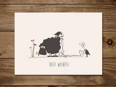 #Postkarte mit #Schaf Elsbeth und den strickenden Vögeln