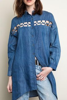 Oversized denim button-down blouse with multicolor woven mesh back detail and large chain link cut-out front detail.  Oversized Denim Buttondown by Hayden Los Angeles. Clothing - Tops - Button Down Florida