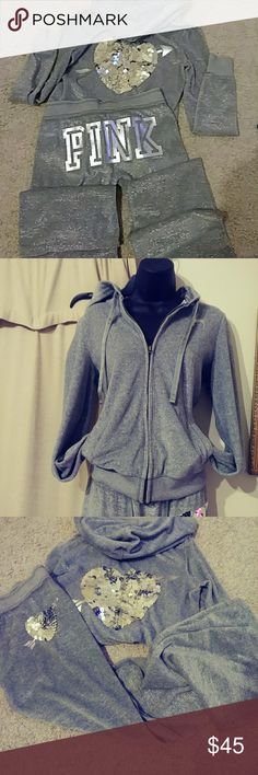 Victoria Secret PINK. GrayJogging Suit Adorable Sparkely Jogging Suit. Perfect for the Fall!! Jacket size sm. pants xs PINK Pants Track Pants & Joggers