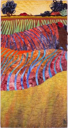 Over Hill and Dale, Interpreted by Mary Koenig - 32 x 17 x 2 inches Hand dyed and commercial fabric, painted, machine pieced, appliqued, machine quilted. When I finally met my long-time friend's new...