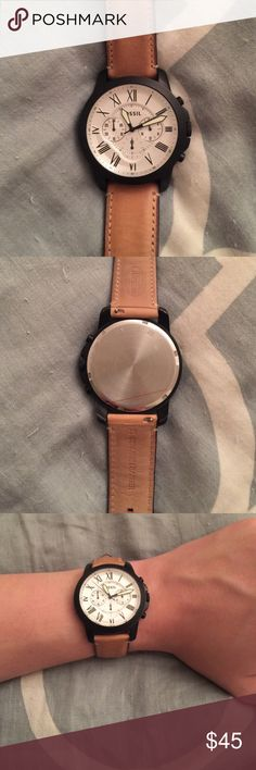 Men's Fossil Watch Men's Fossil Grant watch.  44mm black case with a genuine vachetta leather strap.  Comes with box Fossil Other