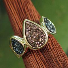 Brazilian Drusy Gold Plated Ring - Sparkling Life | NOVICA