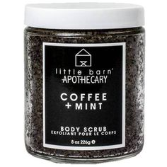 Little Barn Apothecary Coffee + Mint | Body Scrub Black By ($26) ❤ liked on Polyvore featuring beauty products, bath & body products, body cleansers, fillers, beauty, makeup, black fillers, bath and cosmetics
