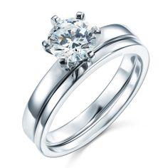 New 1.25 Carat Round Cut Swarovski CZ Cubic Zirconia Engagement Ring Wedding Set by CubicZirconiaRings, $44.95