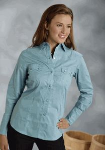 Evening Shade Solid Teal Poplin Long Sleeve Shirt