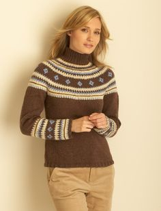 Yarnspirations.com - Bernat Fair Isle Yoke Pullover - Patterns  | Yarnspirations