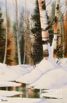 Snow Crevice Painting by Teresa Ascone Winter Watercolor, Watercolor Trees, Painting Snow, Winter Landscape, Winter Painting, Art, Watercolor Landscape, Birches Painting, Watercolour Inspiration