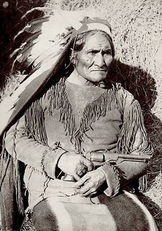 Geronimo. Apache. 1897. Fort Sill, Oklahoma. Photo by Ed Irwin or G.A. Addison. Source - National Anthropological Archives, Smithsonian Institution.