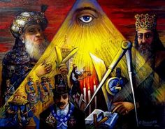 MASONIC PYRAMID OF LIGHT Mysical Painting by International Artist ARI ROUSSIMOFF