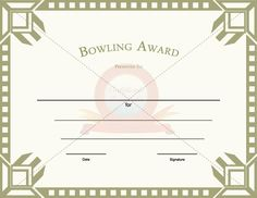 bowling award template free printable certificatesaward - Bowling Certificates Template Free