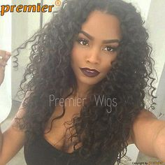 "New Loose Curly 3.5"" Deep Middle Part Lace Front Wigs Black 18"" Lace Full Wig"