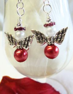 Valentine Angel Earrings with Red Pearls and by GirlieGals on Etsy, $10.00