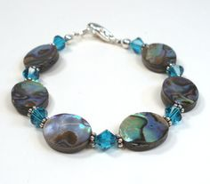 Abalone Shell and Crystal Bracelet