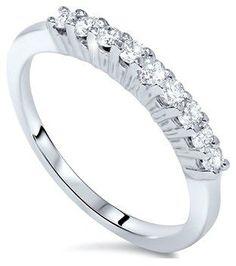 Pompeii3 5/8ct 9 Stone Diamond Wedding Ring 14k White Gold.