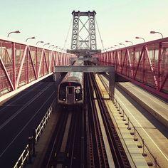 #SubwayTrain on the Williamsburg Bridge, NYC.   #WilliamsburgBridge  #NYCSubway