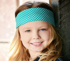 Turquoise and white polka dot headband by BabyButtonTops on Etsy, $6.00