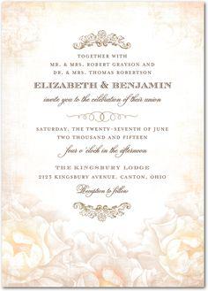 Precious Peonies - Signature White Textured Wedding Invitations in Sand or Daiquiri | Lady Jae