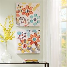 Sweet Florals Canvas With Hand Embellishment 2 Piece Set
