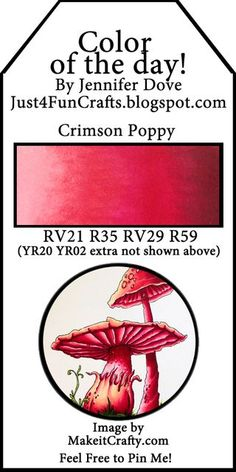 and DoveArt Studios: Color of the Day 15 - Crimson Poppy Copic Marker Art, Copic Pens, Copic Art, Copic Sketch, Sketch Markers, Copics, Prismacolor, Copic Color Chart, Copic Colors
