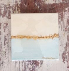 Abstract Landscape Blue on Canvas with Gold by BSandersDesignCo, $18.00