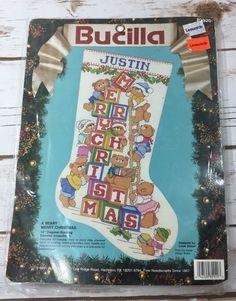 Bucilla A Beary Merry Christmas Stocking Counted Cross-Stitch Kit Linda Gillum