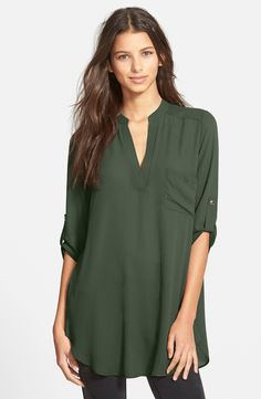 Lush 'Perfect' Roll Tab Sleeve Tunic - would be great with leggings.  Comes in several colors!