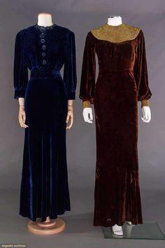 TWO SILK VELVET GOWNS, 1930s