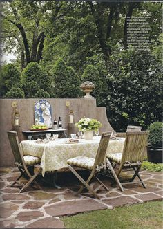 Nice quilted tablecloth, but wow look at the stone floor. Looks like a giraffe pattern!