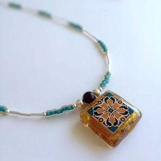 Spanish Tile Necklace with Glass & Silver Beads - Designed and Handmade by Me