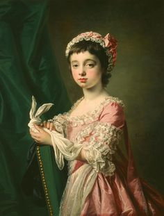 """Miss Frances Lee"" by Francis Cotes (1769) at the Milwaukee Art Museum, Wisconsin - From the curators' comments: "" Cotes's likenesses of children are among his most successful works, since they have an unaffected immediacy lacking in the more formal, decoratively detailed society portraits."""