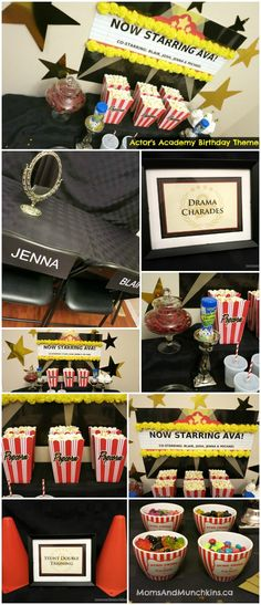 Actor's Academy Birthday Party - creative ideas for a movie party, Hollywood party, Oscar party, and more! Lots of great ideas for activities that both kids and adults would enjoy.