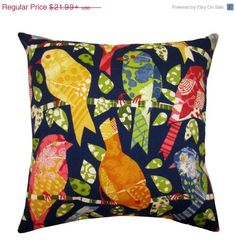 Bird Throw Pillow - Richloom Solarium Ash Hill Navy Outdoor Decorative Pillow Free Shipping