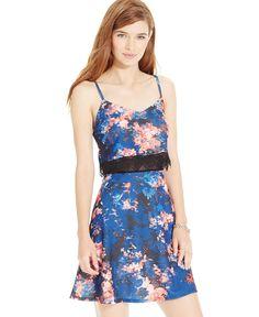 Material Girl Juniors' Mesh-Waist Floral-Print Dress