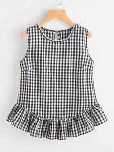 Shop Gingham Buttoned Keyhole Back Frill Hem Top online. SheIn offers Gingham Buttoned Keyhole Back Frill Hem Top & more to fit your fashionable needs. Baby Frocks Designs, Kids Frocks Design, Stylish Dress Designs, Stylish Dresses, Cute Outfits For Kids, Cute Casual Outfits, Baby Dress Design, Creation Couture, Fashion Outfits