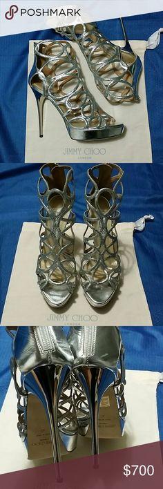 ☆2XHOST PICK OI/15/17☆ JIMMY CHOO (WOMEN'S SHOES ) JIMMY CHOO ( WOMEN'S SHOES ) FINE GLITTER/MIRROR  (SILVER) WORN ONCE (Size 40) Jimmy Choo Shoes Sandals
